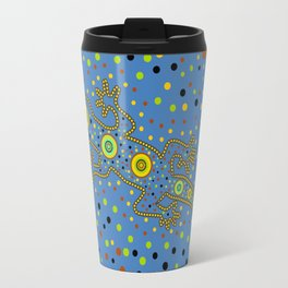 Lizard- aboriginal in blue Travel Mug