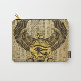 Egyptian Eye of Horus - Wadjet Gold and Wood Carry-All Pouch