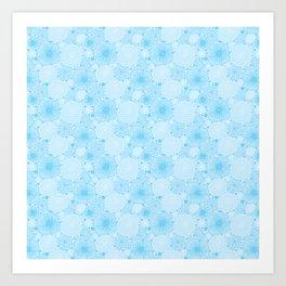 Flowers in light blue pattern Art Print