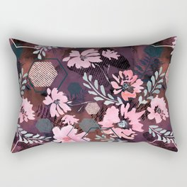 Pink flowers on an abstract cherry background. Rectangular Pillow