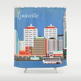 Louisville, Kentucky - Skyline Illustration by Loose Petals Shower Curtain