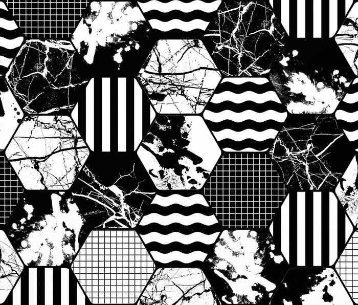 Hexual - Black and white, honeycomb, hexagon pattern, stripes, paint splats, grid and marble Metal Travel Mug