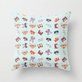 Woodland Emojis Throw Pillow