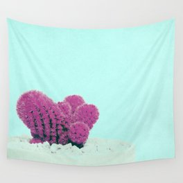 Vintage Pink Cactus on Blue Wall Tapestry