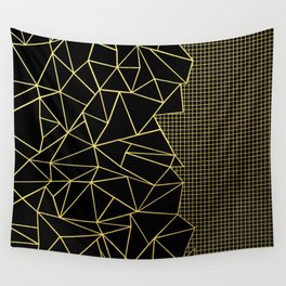 Ab Outline Grid Black and Gold Wall Tapestry