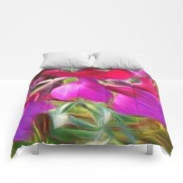 Vibrant little flowers, photographic art Comforters