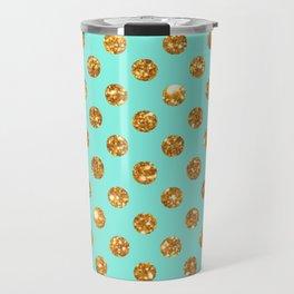 Chic Gold Glitter Polka Dots Pattern On Turquoise Travel Mug