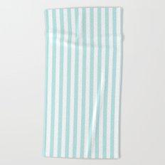 Striped- Turquoise vertikal stripes on white- Maritime Summer Beach Beach Towel