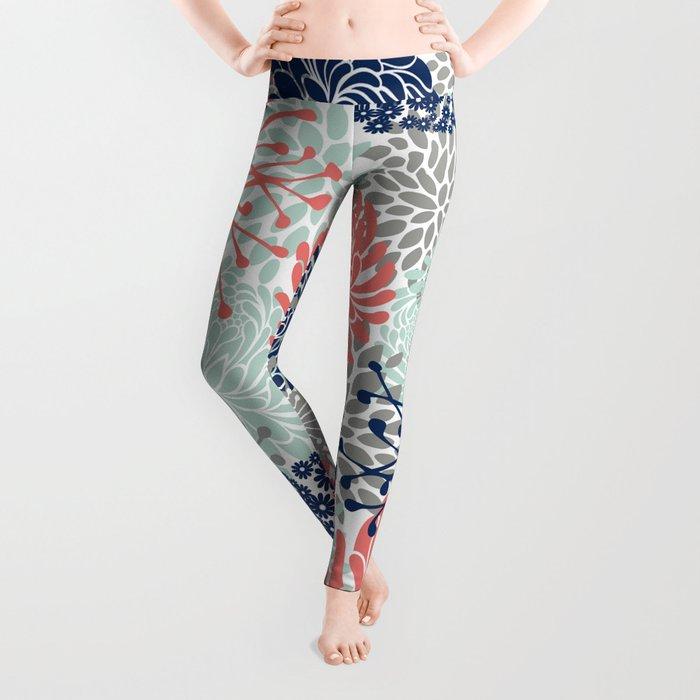 Floral Print - Coral Pink, Pale Aqua Blue, Gray, Navy Leggings