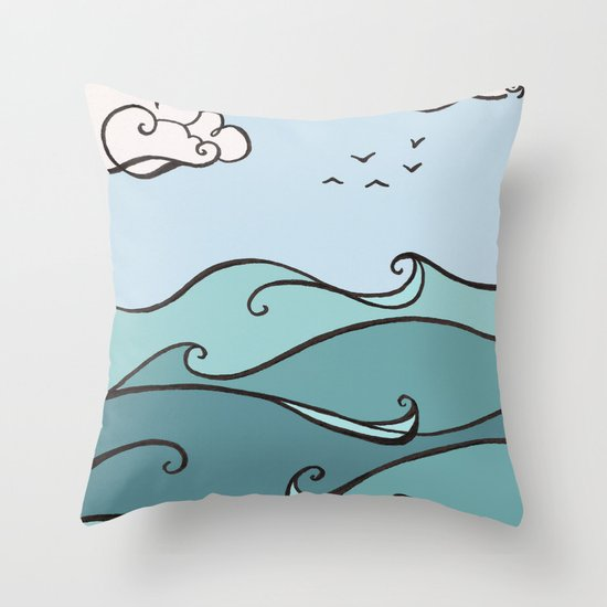 Clouds and Waves Throw Pillow