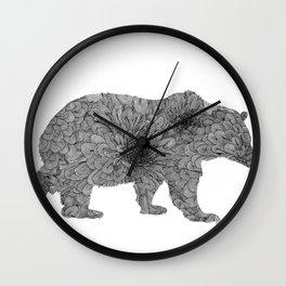 Floral Line Work Bear in Black Wall Clock