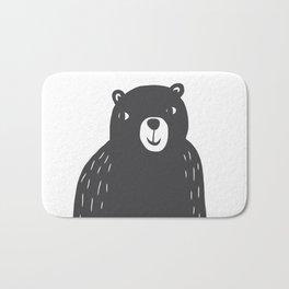 Bear Print – Charcoal and White by Tasha Johnson Bath Mat