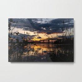 Sun sets on the bridge Metal Print