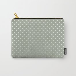 White Polka Dot Hearts on Desert Sage Grey Green Carry-All Pouch