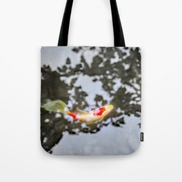 Koi in Japanese Maple Shadows Tote Bag