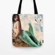Sea Siren, Nude mermaid art Tote Bag