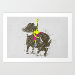 Ride a buffalo Art Print