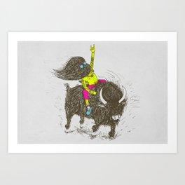 Ride a buffalo Art Print