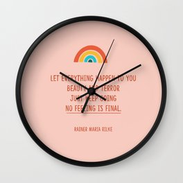 Beauty and Terror, Positive Quote from Rilke, Good Vibes Wall Clock