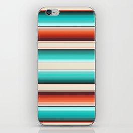 Navajo White, Turquoise and Burnt Orange Southwest Serape Blanket Stripes iPhone Skin