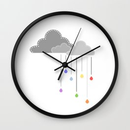 Rainbow raindrops Wall Clock