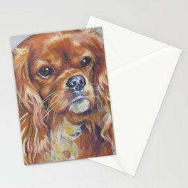 Beautiful Ruby Cavalier King Charles Spaniel Dog Painting by LA.Shepard Stationery Cards