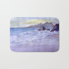 Wet Sand, Beach, Sunset, sea, mountains, waves, original, watercolor, blue, white, violet, yellow, w Bath Mat