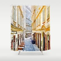 vienna Shower Curtains featuring vienna, watercolors by MehrFarbeimLeben