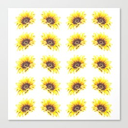 Watercolor Sunflower Petal Pattern Canvas Print