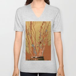 Twigs in Ceramic Jar, digital paint, orange brown teal gray tan Unisex V-Neck