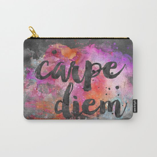 Carpe diem colorful watercolor handlettering Carry-All Pouch
