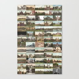 Kirkbride Asylum Vintage Postcard Collage Canvas Print