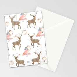Pattern deer wood Stationery Cards