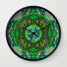 Deep Green Celtic Resonant Geometric Mandala Wall Clock