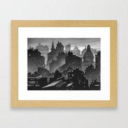 Evening misty town Framed Art Print