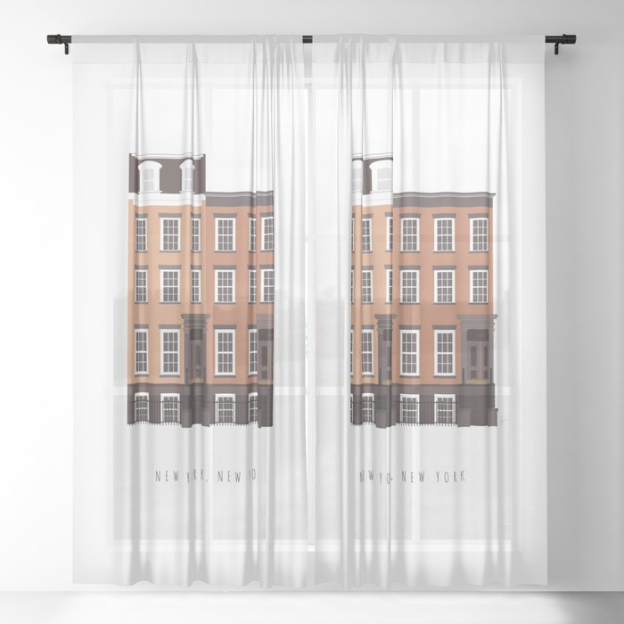 New York, NY Brownstone Sheer Curtain