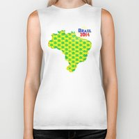 brasil Biker Tanks featuring Brasil 2014 by Bunhugger Design