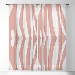 Zebra living coral pattern Sheer Curtain