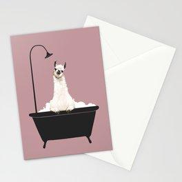 Llama in Bathtub Stationery Cards