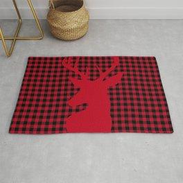 Red Plaid Deer Stag Design Rug