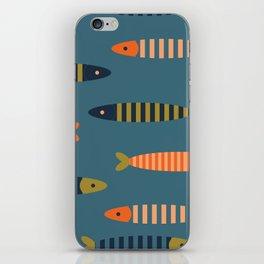 Striped fish - blue iPhone Skin