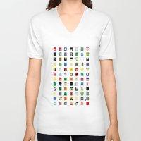 minimalism V-neck T-shirts featuring Minimalism Villains by Fabian Gonzalez