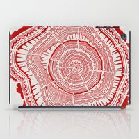 tree rings iPad Cases featuring Red Tree Rings by Cat Coquillette