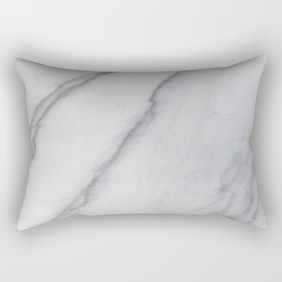 Sophisticated Polished White Marble Rectangular Pillow