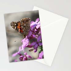 Painted Lady Butterfly on Pink Flowers Stationery Cards