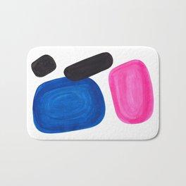 Colorful Minimalist Pop Art Mid Century Modern Style Rose Magenta Phthalo Blue Bubbles Bath Mat