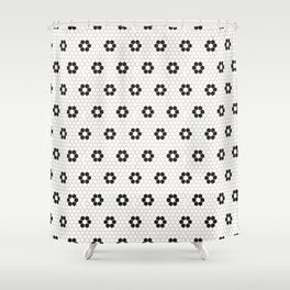 Tiles of Penang - Black and white Shower Curtain