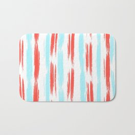 Red and Blue Oil Stripes Pattern Bath Mat