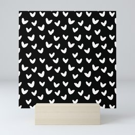 Black & White-Love Heart Pattern- Mix & Match with Simplicty of life Mini Art Print