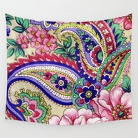 deco Wall Tapestries featuring Floral Deco by Elena Indolfi